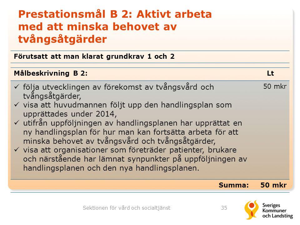 Prestationsmål B 2: Aktivt arbeta med att minska behovet av tvångsåtgärder Sektionen för vård och socialtjänst35 Målbeskrivning B 2:Lt följa utvecklin