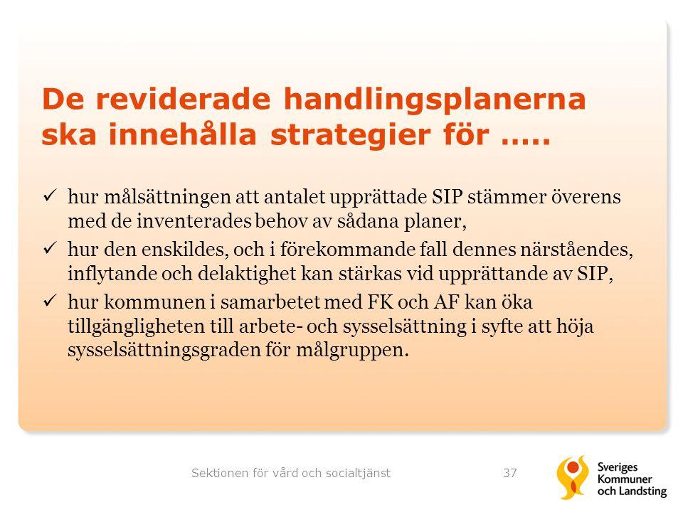 De reviderade handlingsplanerna ska innehålla strategier för ….. hur målsättningen att antalet upprättade SIP stämmer överens med de inventerades beho
