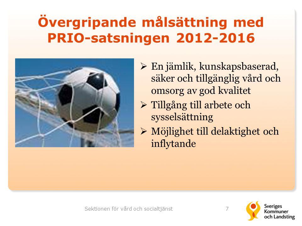Övergripande målsättning med PRIO-satsningen 2012-2016 7  En jämlik, kunskapsbaserad, säker och tillgänglig vård och omsorg av god kvalitet  Tillgån