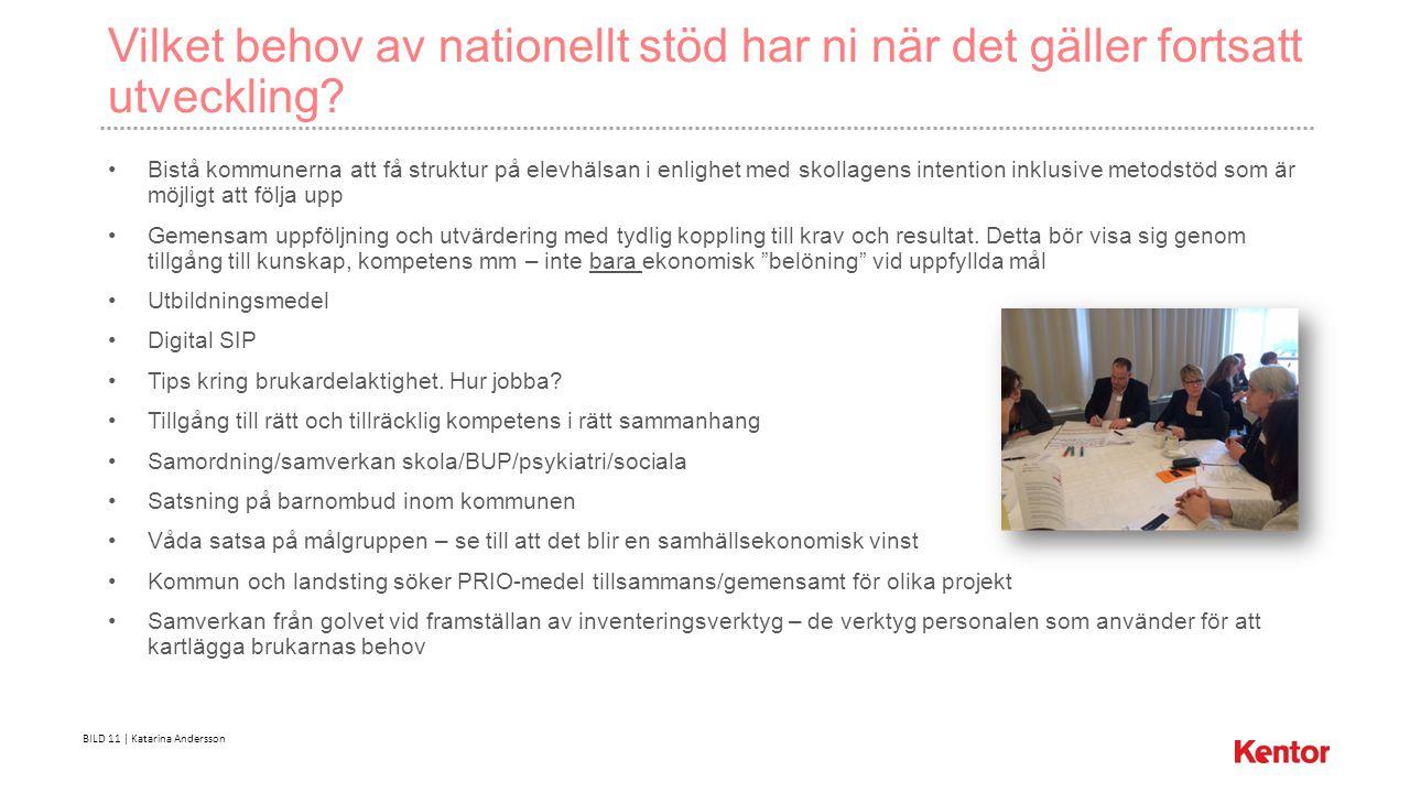 BILD 11 | Katarina Andersson Vilket behov av nationellt stöd har ni när det gäller fortsatt utveckling.