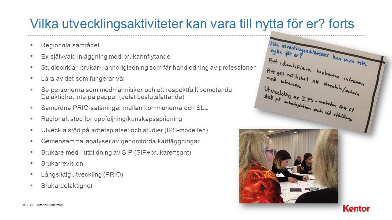 BILD 20 | Katarina Andersson Vilka utvecklingsaktiviteter kan vara till nytta för er.