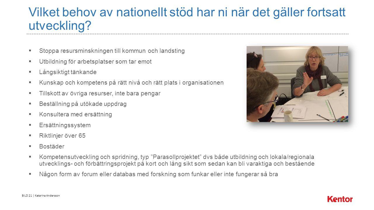 BILD 21 | Katarina Andersson Vilket behov av nationellt stöd har ni när det gäller fortsatt utveckling.