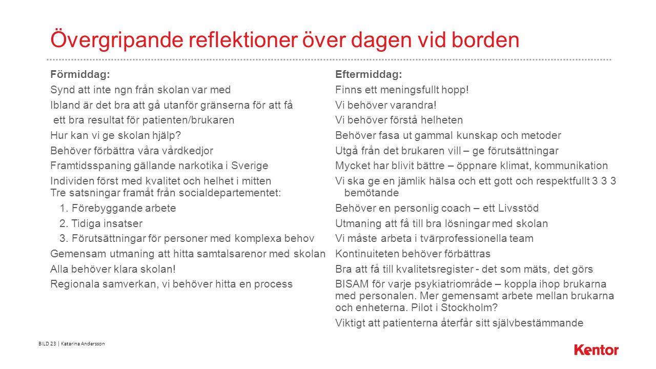 BILD 23 | Katarina Andersson Övergripande reflektioner över dagen vid borden Förmiddag: Eftermiddag: Synd att inte ngn från skolan var medFinns ett meningsfullt hopp.