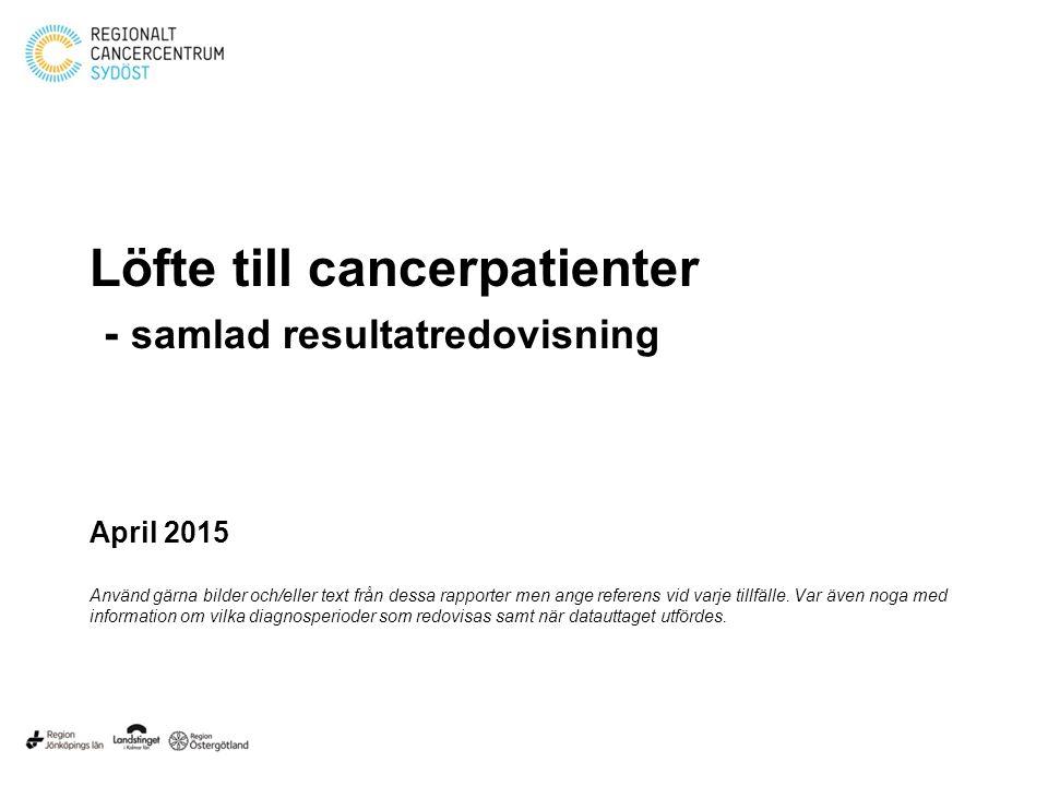 Löfte till cancerpatienter - samlad resultatredovisning April 2015 Använd gärna bilder och/eller text från dessa rapporter men ange referens vid varje
