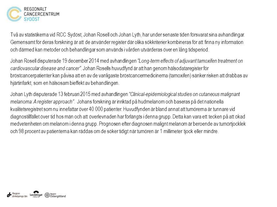 Två av statistikerna vid RCC Sydöst, Johan Rosell och Johan Lyth, har under senaste tiden försvarat sina avhandlingar. Gemensamt för deras forskning ä