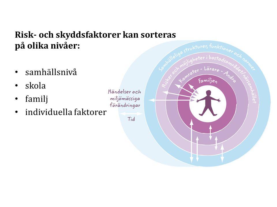 Risk- och skyddsfaktorer kan sorteras på olika nivåer: samhällsnivå skola familj individuella faktorer