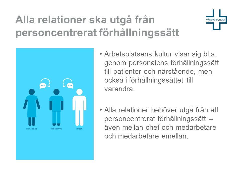 Alla relationer ska utgå från personcentrerat förhållningssätt Arbetsplatsens kultur visar sig bl.a. genom personalens förhållningssätt till patienter