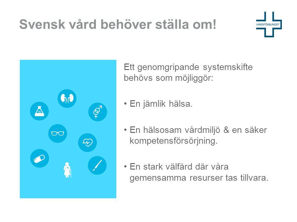 Svensk vård behöver ställa om! Ett genomgripande systemskifte behövs som möjliggör: En jämlik hälsa. En hälsosam vårdmiljö & en säker kompetensförsörj