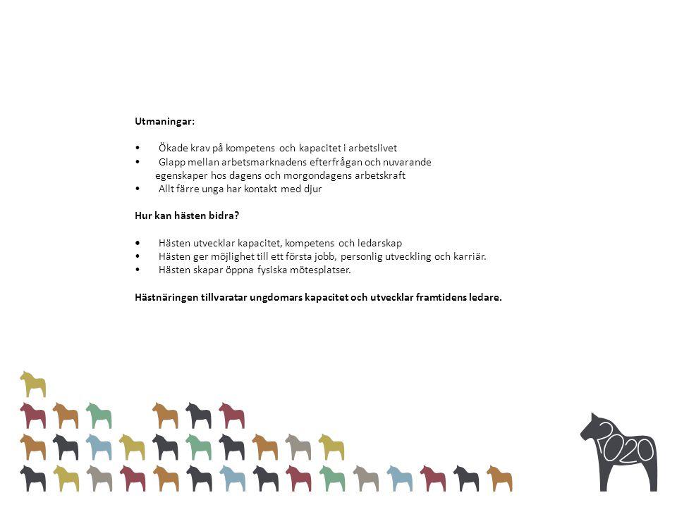 Utmaningar: Ökade krav på kompetens och kapacitet i arbetslivet Glapp mellan arbetsmarknadens efterfrågan och nuvarande egenskaper hos dagens och morgondagens arbetskraft Allt färre unga har kontakt med djur Hur kan hästen bidra.
