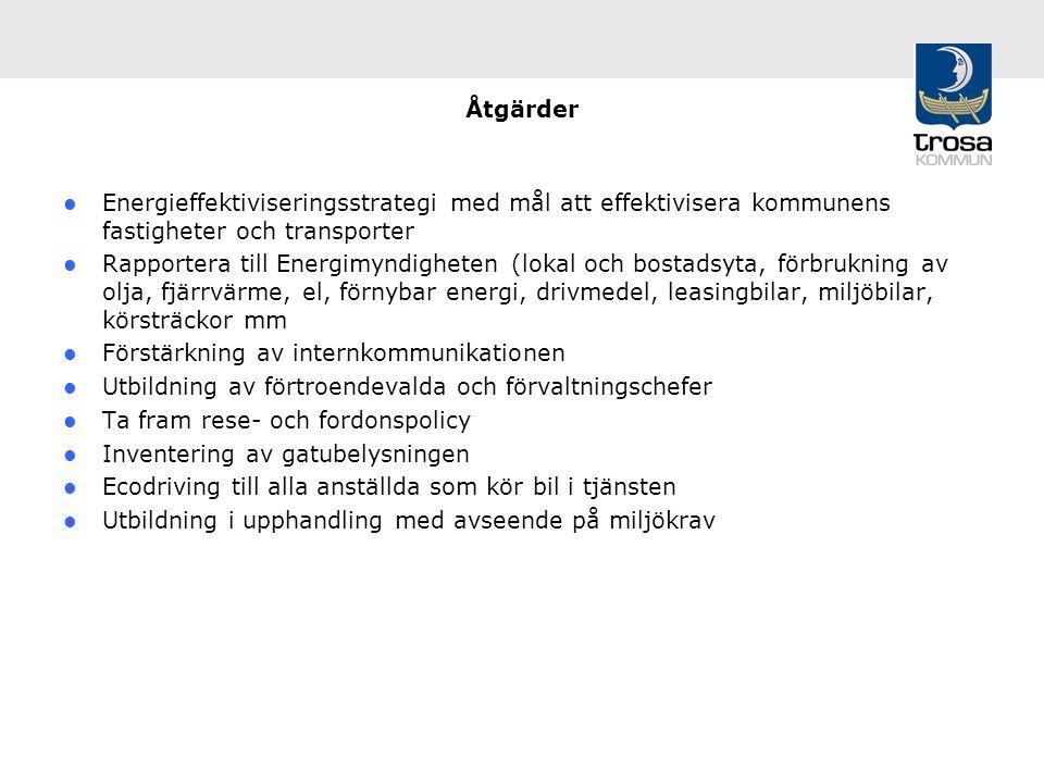 Åtgärder Energieffektiviseringsstrategi med mål att effektivisera kommunens fastigheter och transporter Rapportera till Energimyndigheten (lokal och bostadsyta, förbrukning av olja, fjärrvärme, el, förnybar energi, drivmedel, leasingbilar, miljöbilar, körsträckor mm Förstärkning av internkommunikationen Utbildning av förtroendevalda och förvaltningschefer Ta fram rese- och fordonspolicy Inventering av gatubelysningen Ecodriving till alla anställda som kör bil i tjänsten Utbildning i upphandling med avseende på miljökrav