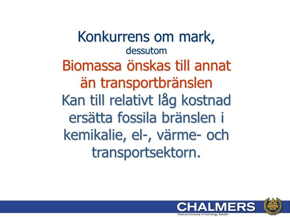 Konkurrens om mark, dessutom Biomassa önskas till annat än transportbränslen Kan till relativt låg kostnad ersätta fossila bränslen i kemikalie, el-,