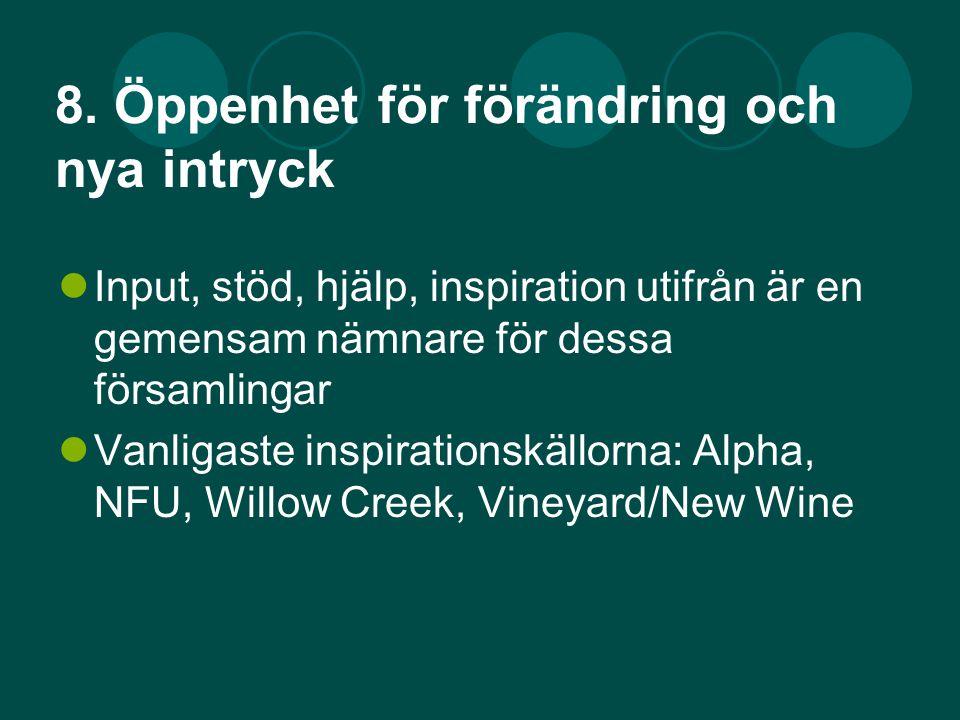 8. Öppenhet för förändring och nya intryck Input, stöd, hjälp, inspiration utifrån är en gemensam nämnare för dessa församlingar Vanligaste inspiratio