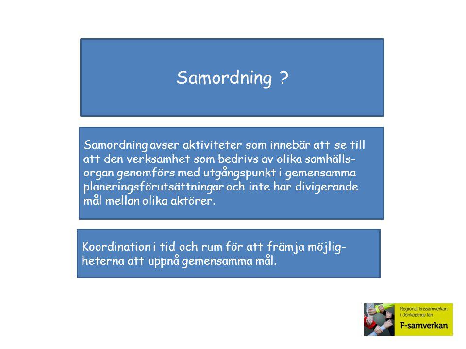 Samordning ? Samordning avser aktiviteter som innebär att se till att den verksamhet som bedrivs av olika samhälls- organ genomförs med utgångspunkt i