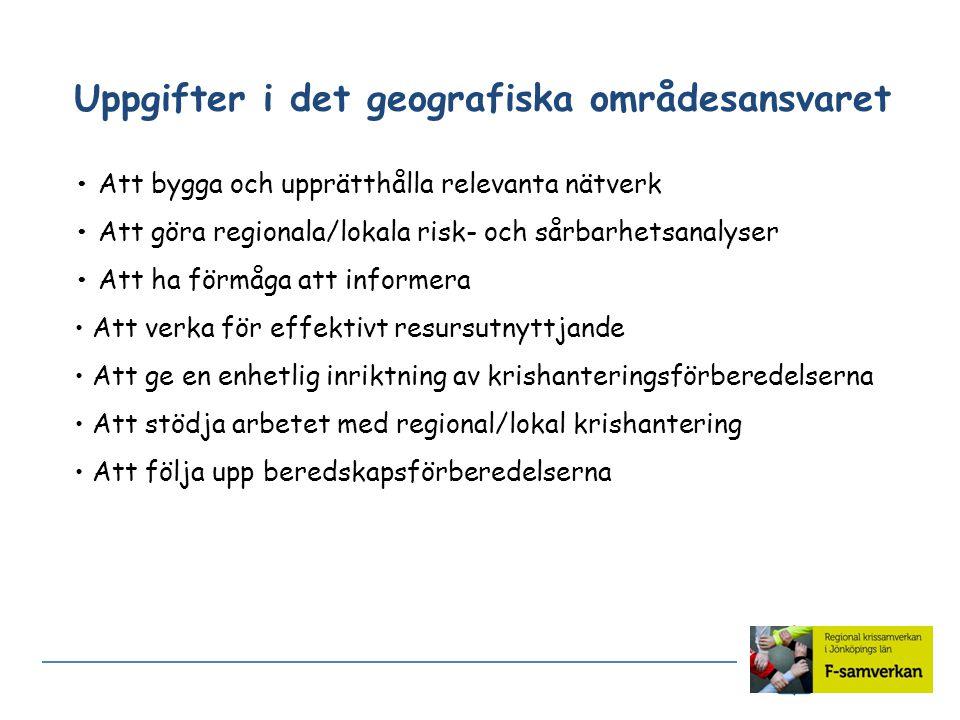 Uppgifter i det geografiska områdesansvaret Att bygga och upprätthålla relevanta nätverk Att göra regionala/lokala risk- och sårbarhetsanalyser Att ha