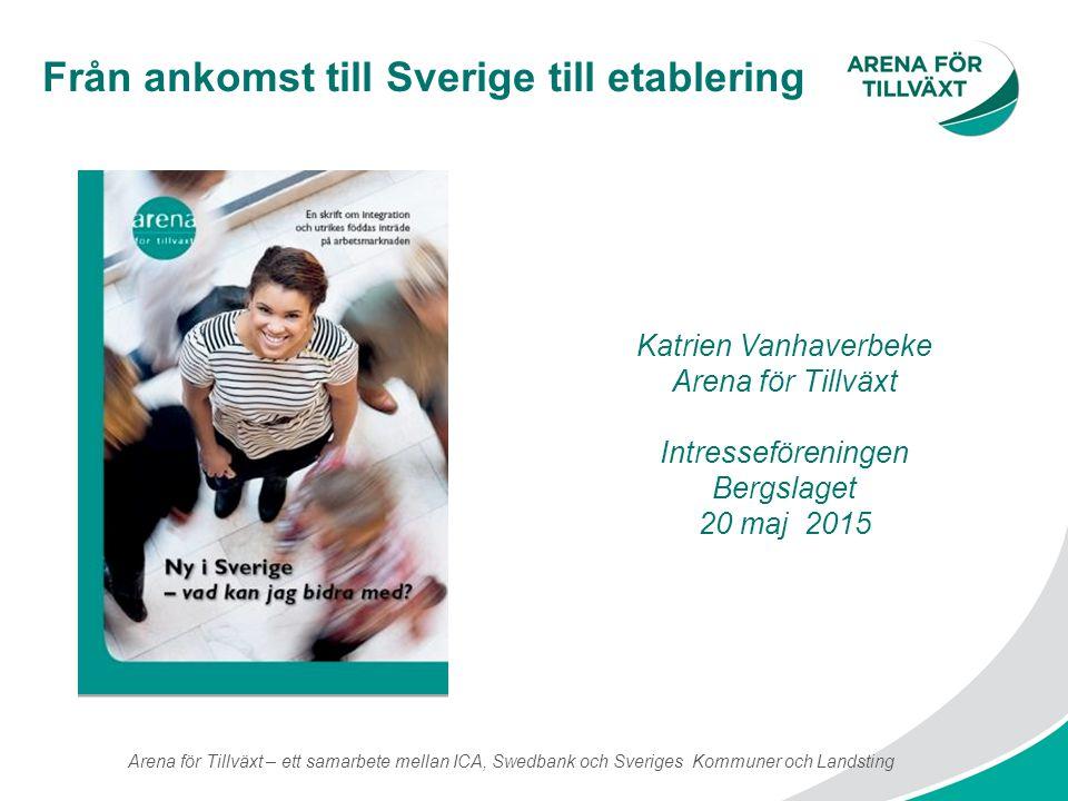 Från ankomst till Sverige till etablering Arena för Tillväxt – ett samarbete mellan ICA, Swedbank och Sveriges Kommuner och Landsting Katrien Vanhaver