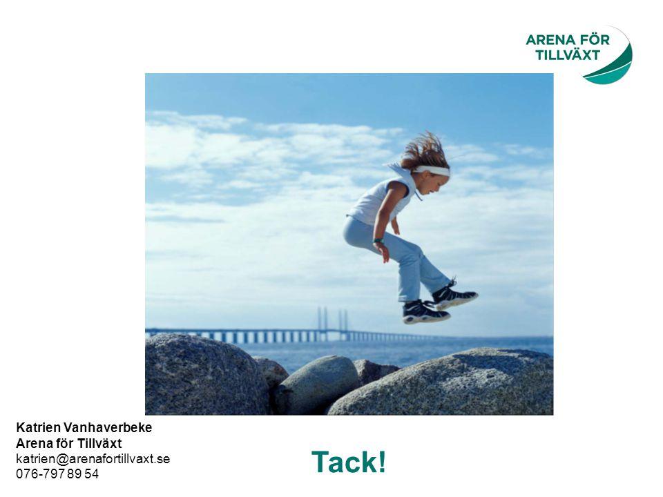 Tack! Katrien Vanhaverbeke Arena för Tillväxt katrien@arenafortillvaxt.se 076-797 89 54