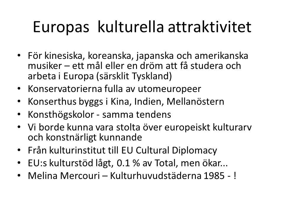 Europas kulturella attraktivitet För kinesiska, koreanska, japanska och amerikanska musiker – ett mål eller en dröm att få studera och arbeta i Europa