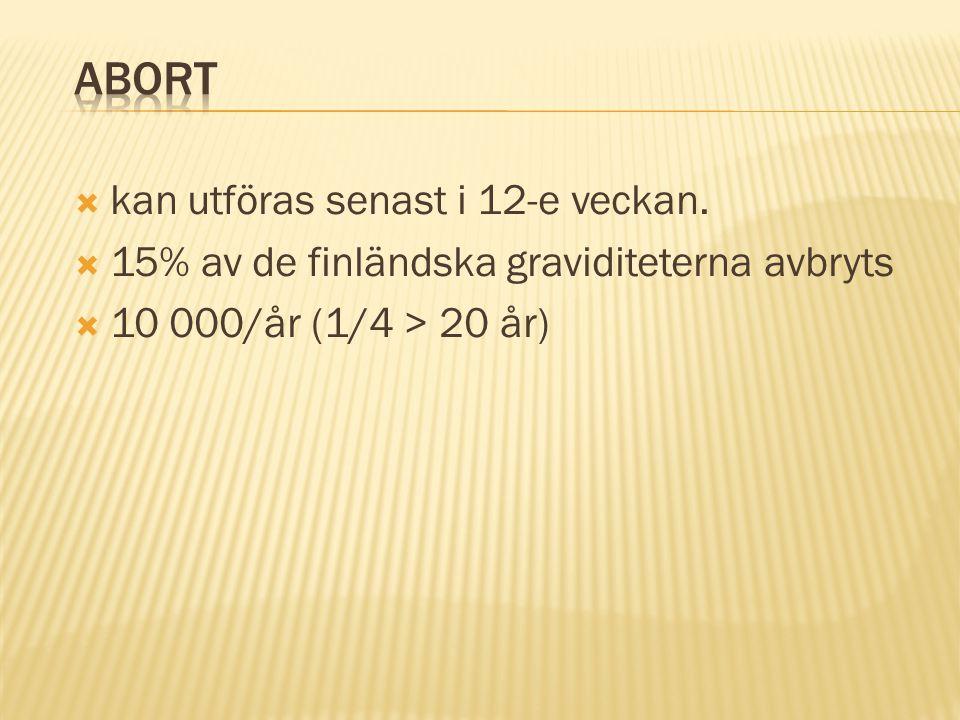  kan utföras senast i 12-e veckan.  15% av de finländska graviditeterna avbryts  10 000/år (1/4 > 20 år)