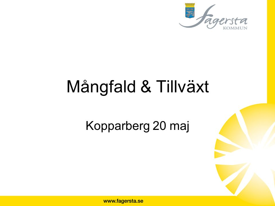 Mångfald & Tillväxt Kopparberg 20 maj