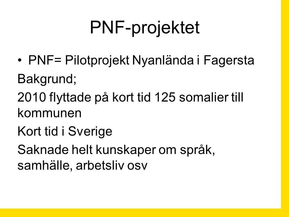 PNF= Pilotprojekt Nyanlända i Fagersta Bakgrund; 2010 flyttade på kort tid 125 somalier till kommunen Kort tid i Sverige Saknade helt kunskaper om språk, samhälle, arbetsliv osv PNF-projektet