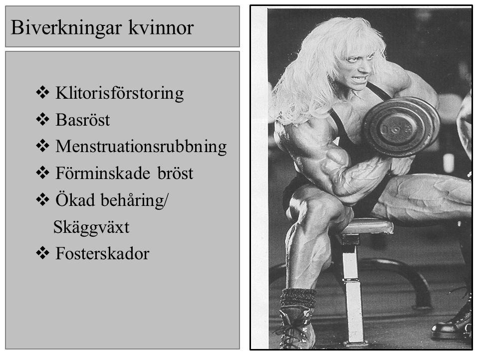 Kännetecken Fysiska Snabb viktökning Oproportionelig muskelmassa, stor kropp, utmärkande bröst, kapp- och bicepsmuskler Svullen kropp och ansikte Akne Striae Bröstkörtelförstoring Psykiska Plötsliga humörsvängningar och beteendeförändringar Aggressivitet- vansinnesutbrott Stresspåslag (hot) Nedstämdhet/Ångest Ökad/sänkt självkänsla Störst och bäst Oövervinnerlighet Överlägsenhet -Slänger vikter, tränar tungt, stånkar -Vill synas och höras Självupptagenhet Känslokall Svartsjuka Förändrad personlighet Koncentrationssvårigheter Fixering träning,kost,kropp Megarexi Sömnproblem Förändrad sexlust Kvinnor Basröst Maskulint utseende Kraftig hårväxt Högt hårfäste Förstorat adamsäpple