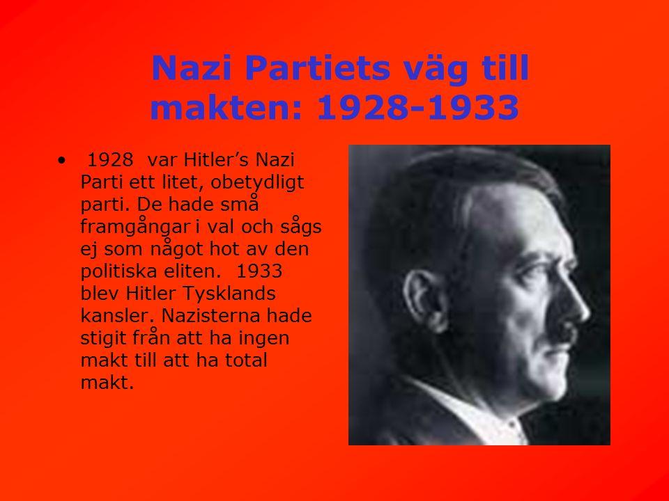 Nazi Partiets väg till makten: 1928-1933 1928 var Hitler's Nazi Parti ett litet, obetydligt parti.