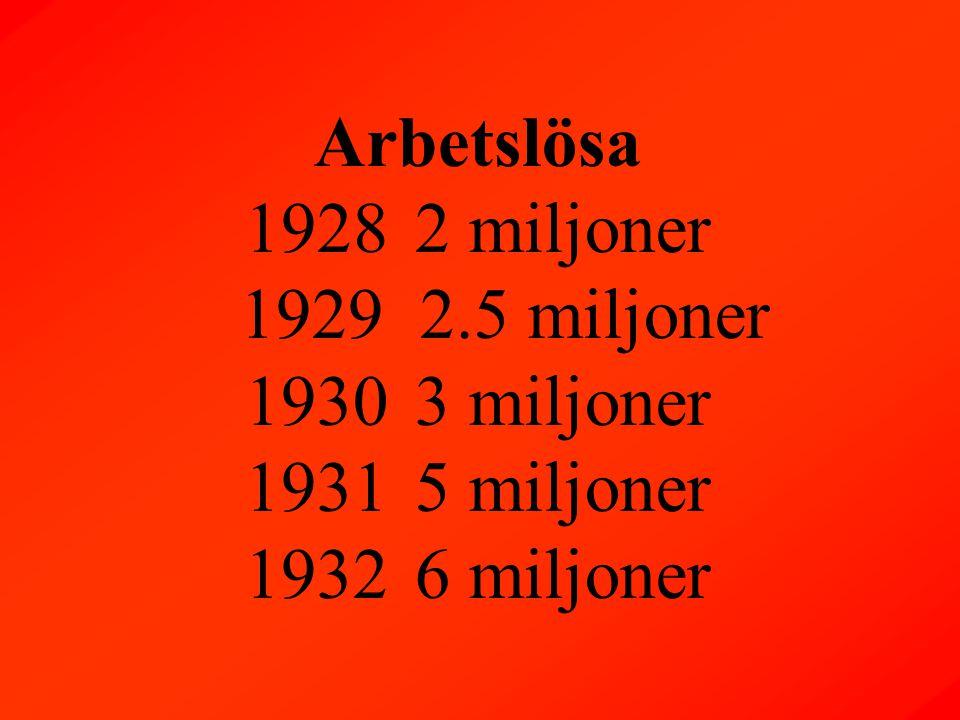 Arbetslösa 19282 miljoner 1929 2.5 miljoner 19303 miljoner 19315 miljoner 19326 miljoner