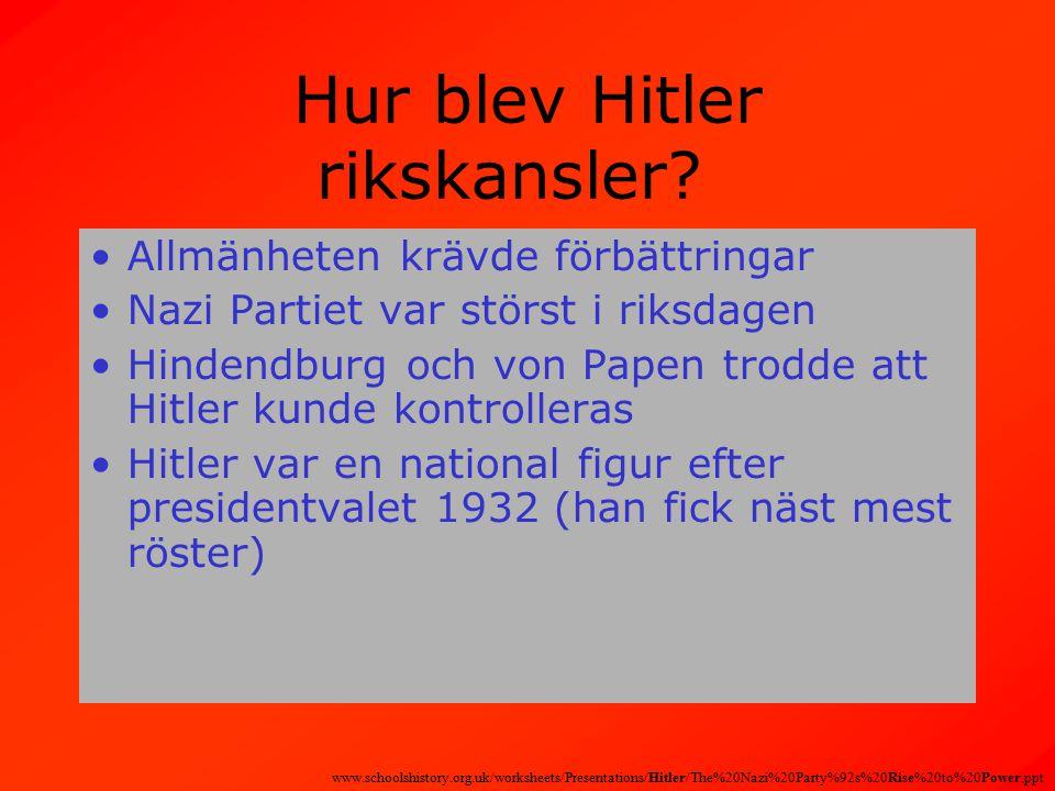 Hur blev Hitler rikskansler.