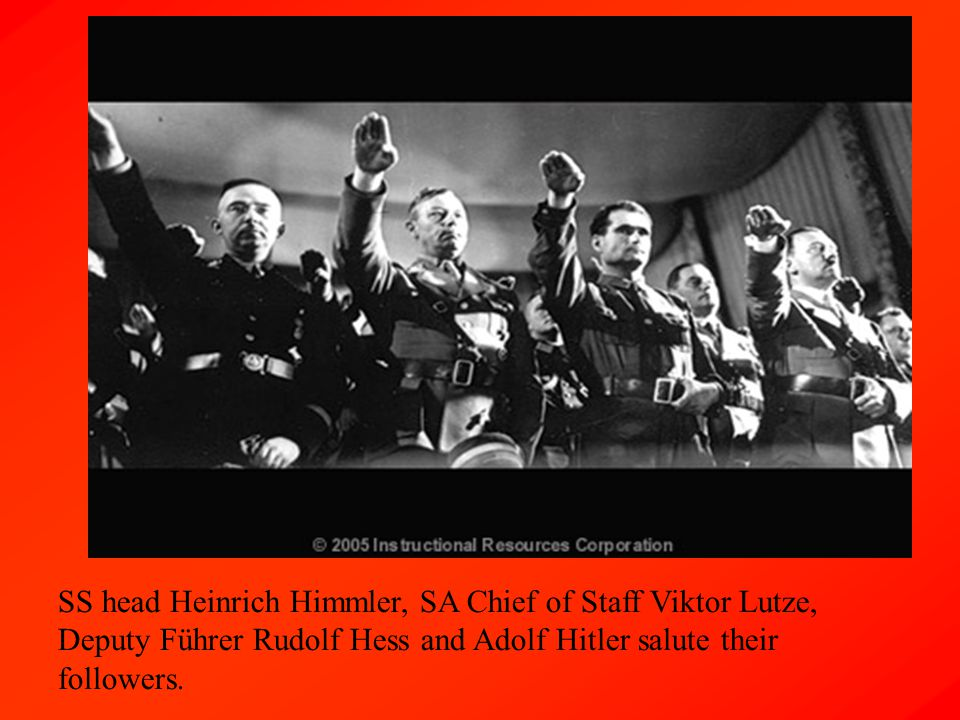 SS head Heinrich Himmler, SA Chief of Staff Viktor Lutze, Deputy Führer Rudolf Hess and Adolf Hitler salute their followers.