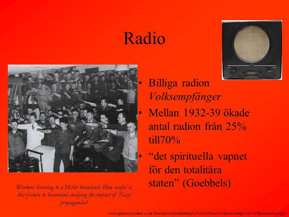 Radio Billiga radion Volksempfänger Mellan 1932-39 ökade antal radion från 25% till70% det spirituella vapnet för den totalitära staten (Goebbels) Workers listening to a Hitler broadcast.