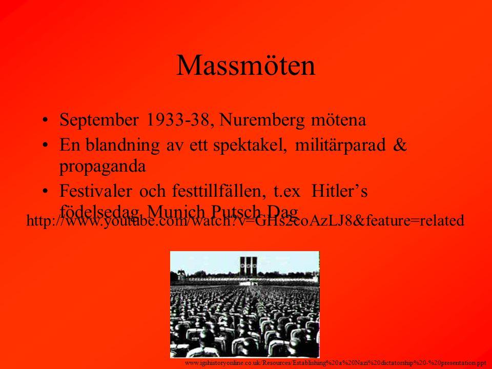 Massmöten September 1933-38, Nuremberg mötena En blandning av ett spektakel, militärparad & propaganda Festivaler och festtillfällen, t.ex Hitler's födelsedag Munich Putsch Dag www.igshistoryonline.co.uk/Resources/Establishing%20a%20Nazi%20dictatorship%20-%20presentation.ppt http://www.youtube.com/watch?v=GHs2coAzLJ8&feature=related