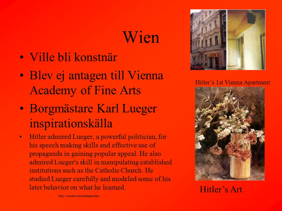 Wien Ville bli konstnär Blev ej antagen till Vienna Academy of Fine Arts Borgmästare Karl Lueger inspirationskälla Hitler admired Lueger, a powerful politician, for his speech making skills and effective use of propaganda in gaining popular appeal.