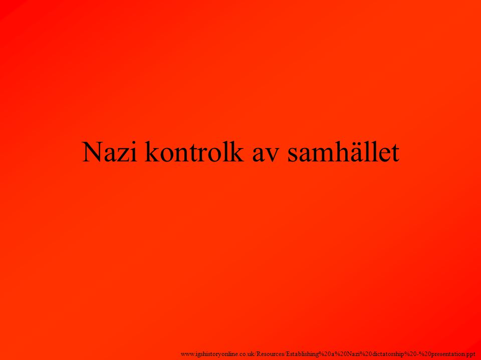 Nazi kontrolk av samhället www.igshistoryonline.co.uk/Resources/Establishing%20a%20Nazi%20dictatorship%20-%20presentation.ppt