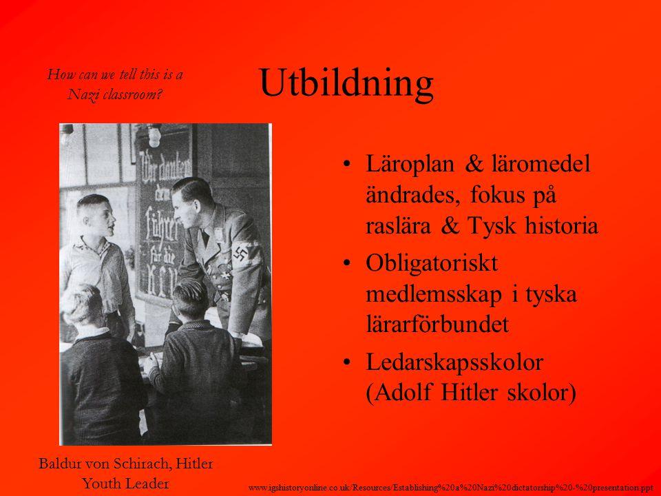Utbildning Läroplan & läromedel ändrades, fokus på raslära & Tysk historia Obligatoriskt medlemsskap i tyska lärarförbundet Ledarskapsskolor (Adolf Hitler skolor) Baldur von Schirach, Hitler Youth Leader How can we tell this is a Nazi classroom.