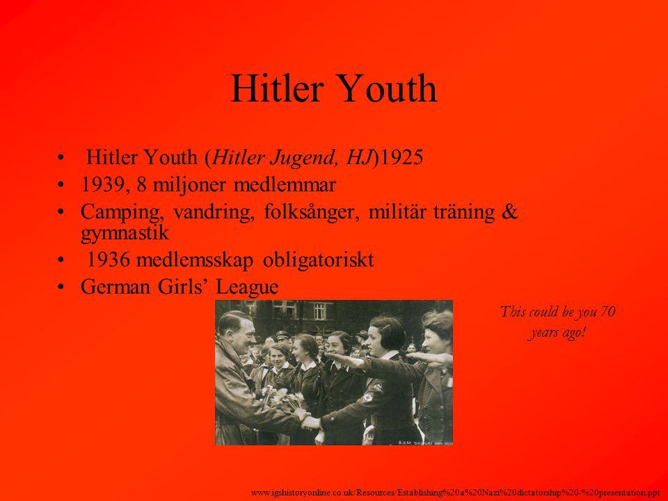 Hitler Youth Hitler Youth (Hitler Jugend, HJ)1925 1939, 8 miljoner medlemmar Camping, vandring, folksånger, militär träning & gymnastik 1936 medlemsskap obligatoriskt German Girls' League This could be you 70 years ago.