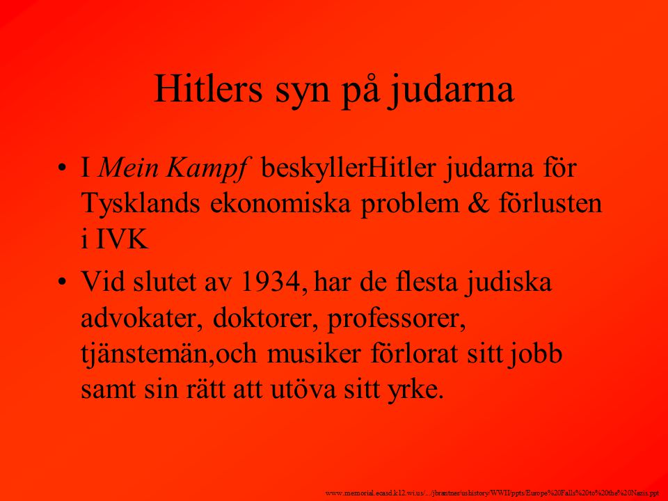 Hitlers syn på judarna I Mein Kampf beskyllerHitler judarna för Tysklands ekonomiska problem & förlusten i IVK Vid slutet av 1934, har de flesta judiska advokater, doktorer, professorer, tjänstemän,och musiker förlorat sitt jobb samt sin rätt att utöva sitt yrke.