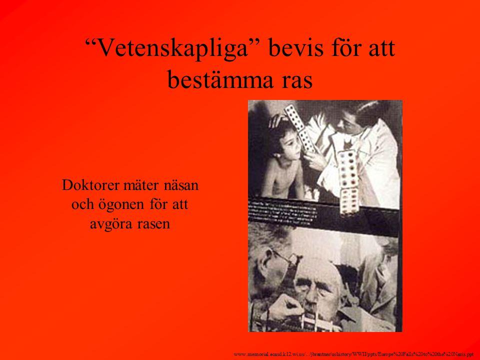 Doktorer mäter näsan och ögonen för att avgöra rasen Vetenskapliga bevis för att bestämma ras www.memorial.ecasd.k12.wi.us/.../jbrantner/ushistory/WWII/ppts/Europe%20Falls%20to%20the%20Nazis.ppt