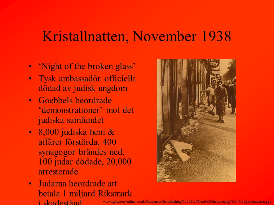 Kristallnatten, November 1938 'Night of the broken glass' Tysk ambassadör officiellt dödad av judisk ungdom Goebbels beordrade 'demonstrationer' mot det judiska samfundet 8,000 judiska hem & affärer förstörda, 400 synagogor brändes ned, 100 judar dödade, 20,000 arresterade Judarna beordrade att betala 1 miljard Riksmark i skadestånd www.igshistoryonline.co.uk/Resources/Establishing%20a%20Nazi%20dictatorship%20-%20presentation.ppt