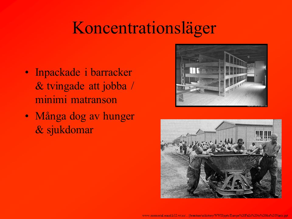 Koncentrationsläger Inpackade i barracker & tvingade att jobba / minimi matranson Många dog av hunger & sjukdomar www.memorial.ecasd.k12.wi.us/.../jbrantner/ushistory/WWII/ppts/Europe%20Falls%20to%20the%20Nazis.ppt