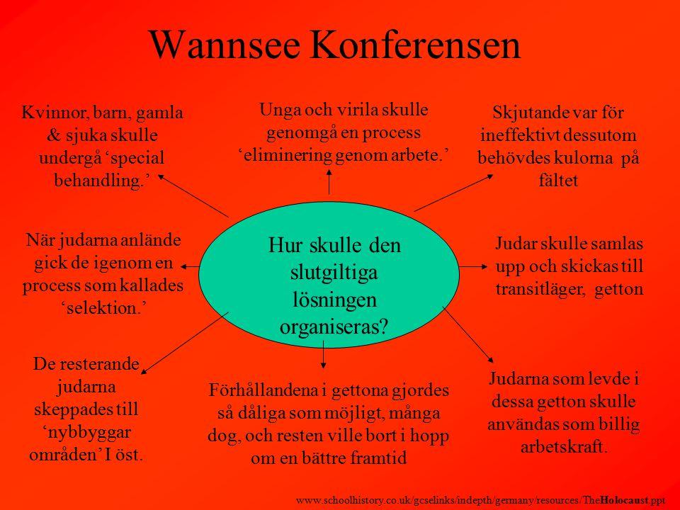 Wannsee Konferensen Hur skulle den slutgiltiga lösningen organiseras.