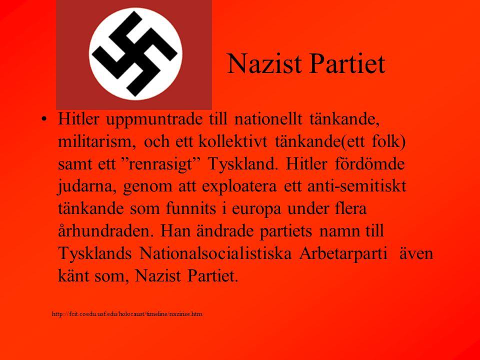 Nazist Partiet Hitler uppmuntrade till nationellt tänkande, militarism, och ett kollektivt tänkande(ett folk) samt ett renrasigt Tyskland.