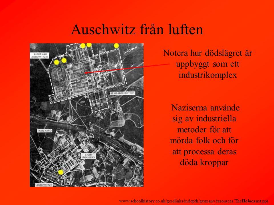 Auschwitz från luften Notera hur dödslägret är uppbyggt som ett industrikomplex Naziserna använde sig av industriella metoder för att mörda folk och för att processa deras döda kroppar www.schoolhistory.co.uk/gcselinks/indepth/germany/resources/TheHolocaust.ppt