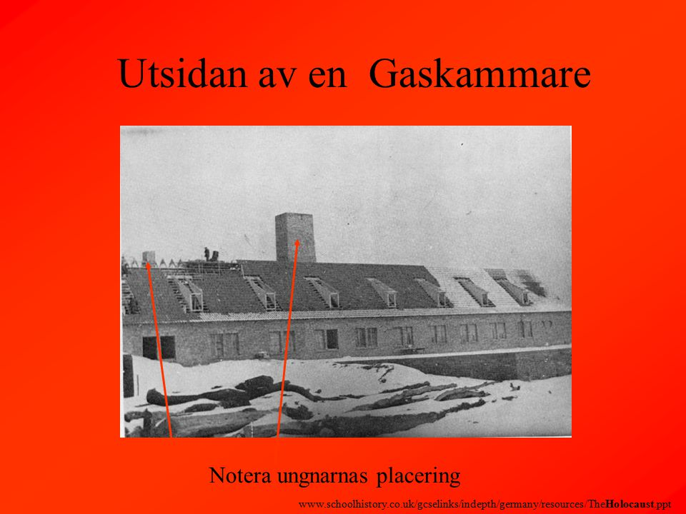 Utsidan av en Gaskammare Notera ungnarnas placering www.schoolhistory.co.uk/gcselinks/indepth/germany/resources/TheHolocaust.ppt