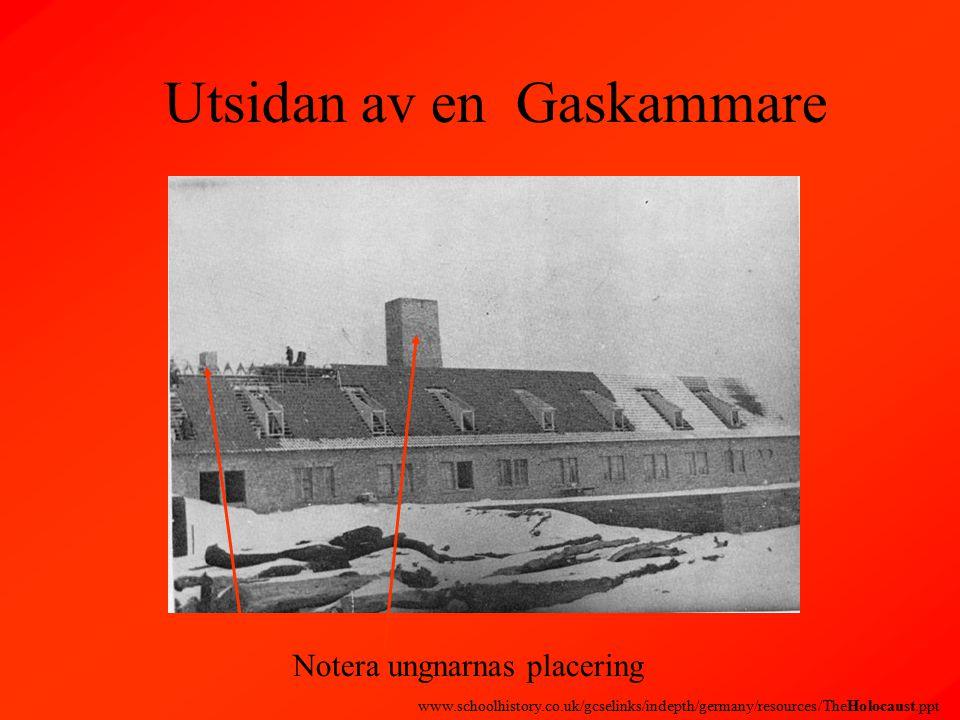 Utsidan av en Gaskammare Notera ungnarnas placering www.schoolhistory.co.uk/gcselinks/indepth/germany/resources/TheHolocaust.ppt