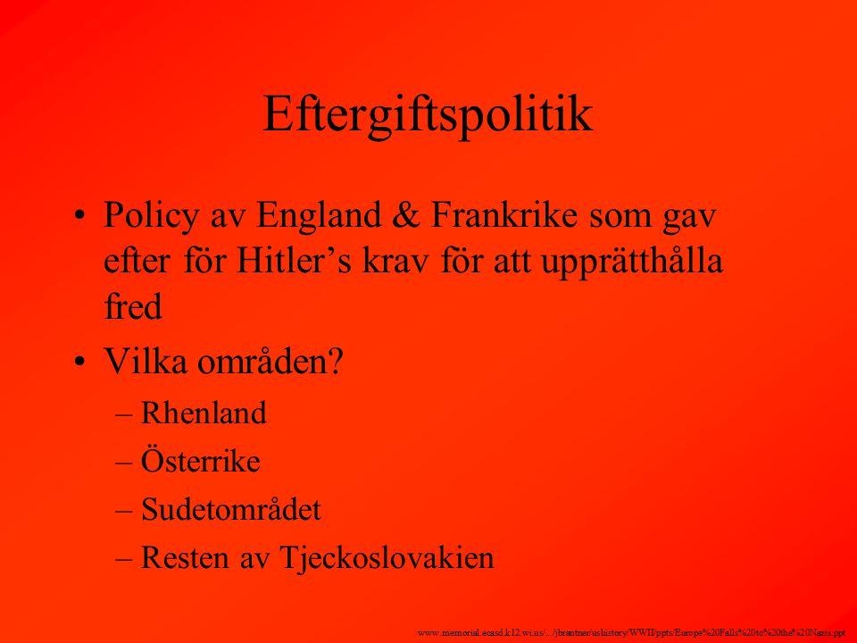 Eftergiftspolitik Policy av England & Frankrike som gav efter för Hitler's krav för att upprätthålla fred Vilka områden.