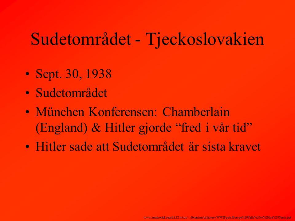 Sudetområdet - Tjeckoslovakien Sept.