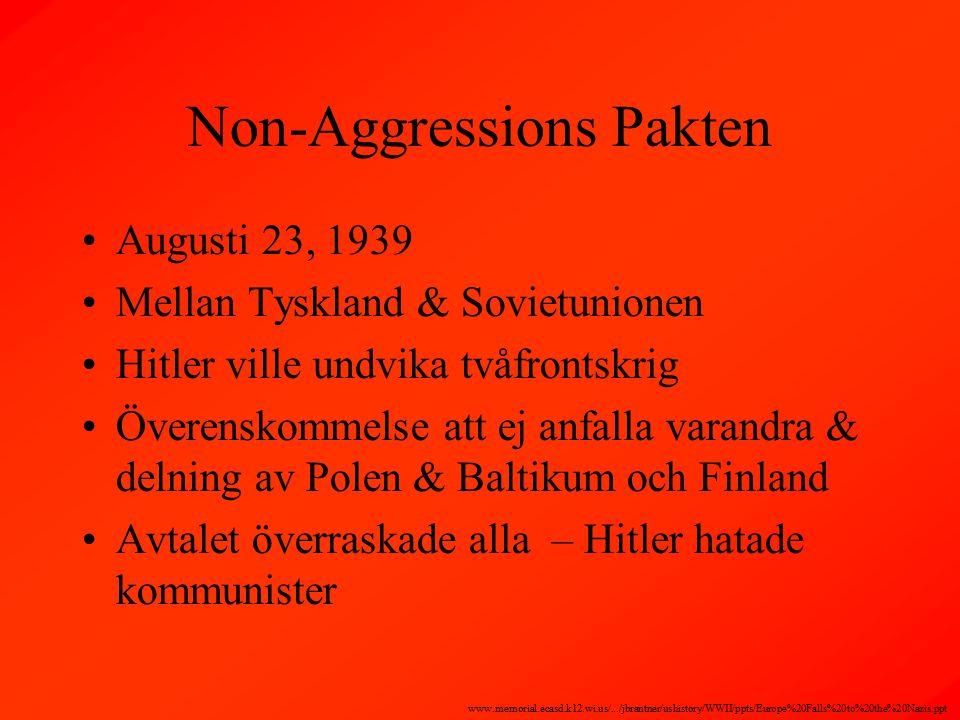 Non-Aggressions Pakten Augusti 23, 1939 Mellan Tyskland & Sovietunionen Hitler ville undvika tvåfrontskrig Överenskommelse att ej anfalla varandra & delning av Polen & Baltikum och Finland Avtalet överraskade alla – Hitler hatade kommunister www.memorial.ecasd.k12.wi.us/.../jbrantner/ushistory/WWII/ppts/Europe%20Falls%20to%20the%20Nazis.ppt