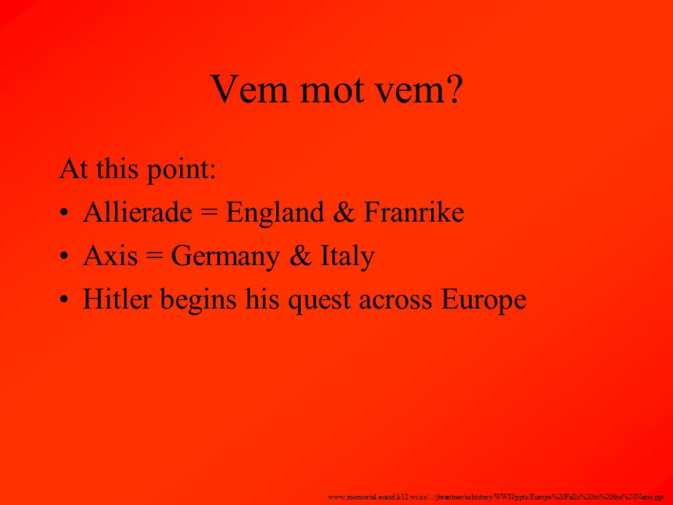 Vem mot vem? At this point: Allierade = England & Franrike Axis = Germany & Italy Hitler begins his quest across Europe www.memorial.ecasd.k12.wi.us/.