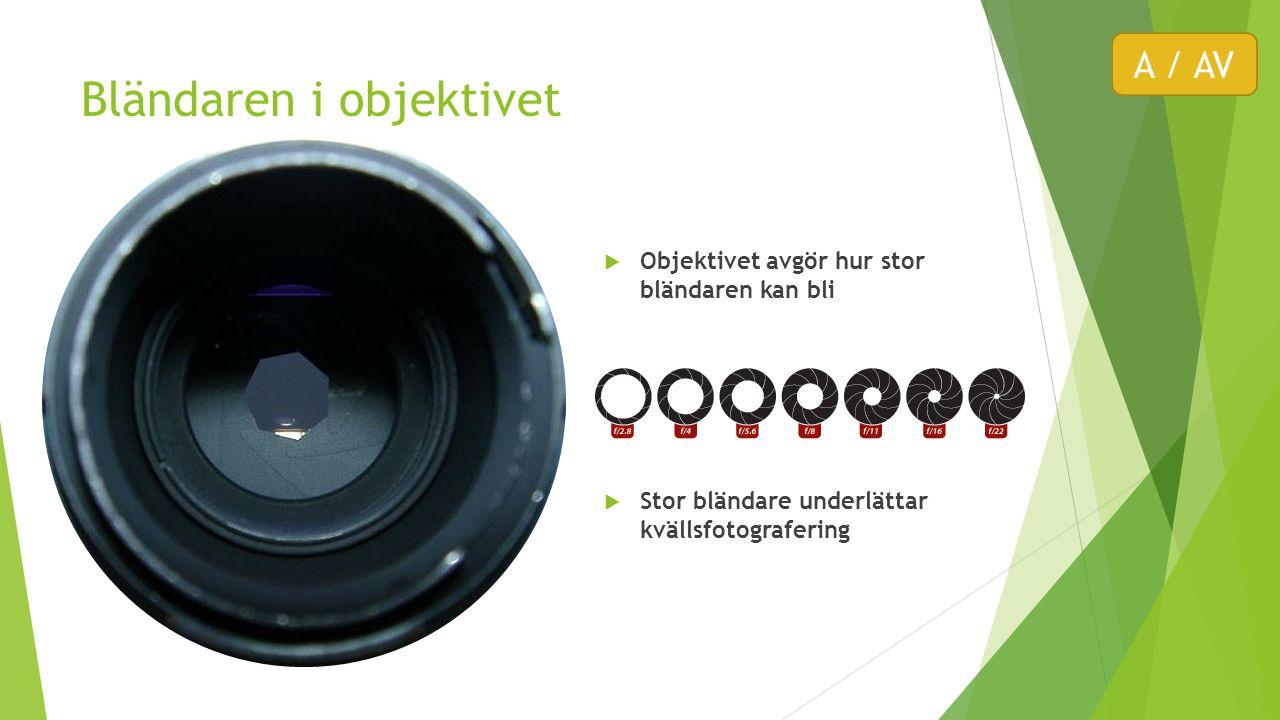 Bländaren i objektivet  Objektivet avgör hur stor bländaren kan bli  Stor bländare underlättar kvällsfotografering A / AV