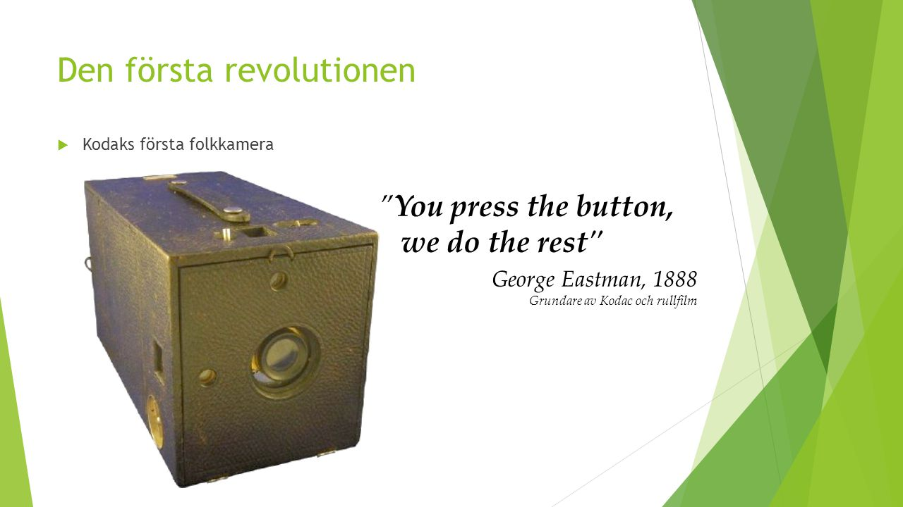 "Den första revolutionen  Kodaks första folkkamera ""You press the button, we do the rest"